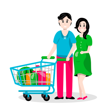 A young family, a man and a pregnant woman are carrying a cart in a supermarket with groceries Illustration