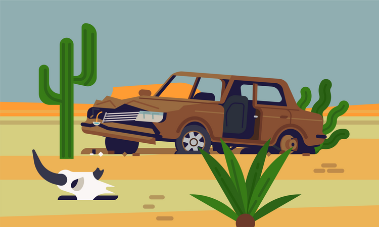 Abandoned rusty old car wreckage in desert with saguaro cactus and an animal skull next to it Illustration