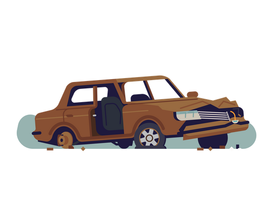 Abandoned rusty old car wreckage with torn out door Illustration