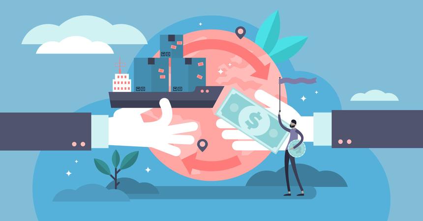 Abstract symbolic international economy export market visualization and company partnership cooperation management Illustration