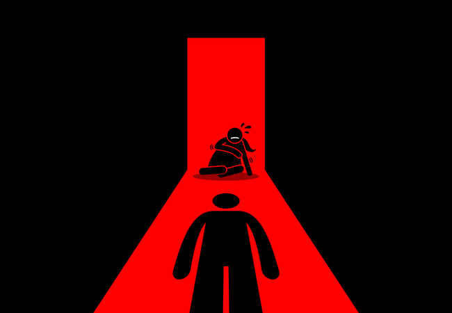 Abusive husband beating and rape his wife Illustration