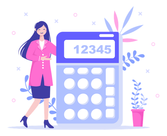 Accountant lady showing calculator Illustration