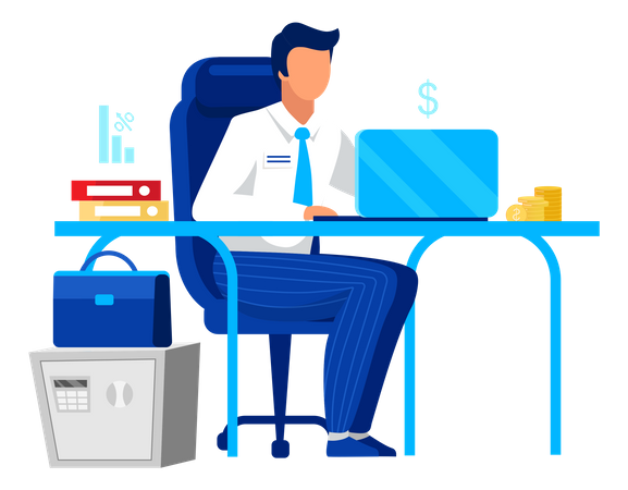 Accountant manages business finance Illustration