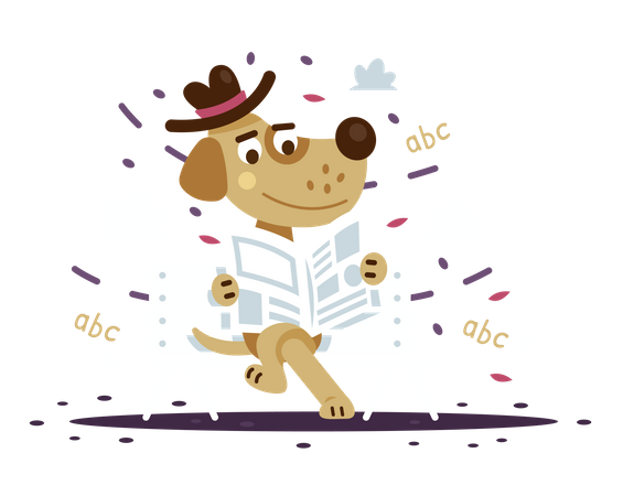 Acculturated dog reading a newspaper at the park Illustration