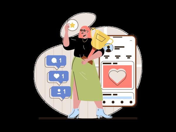 Achievement business target by digital marketing Illustration