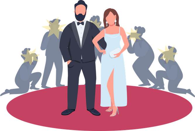 Actor and actress in fancy outfits posing on red carpet Illustration