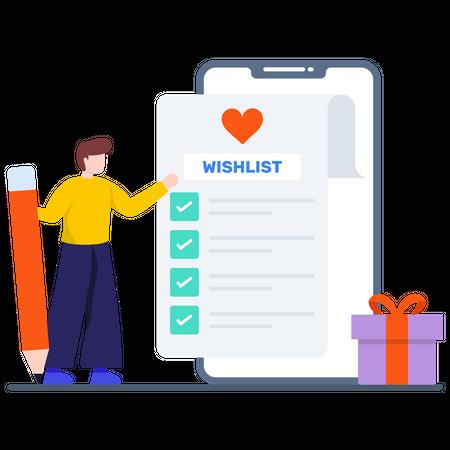 Add Favorite Items into Wishlist Illustration