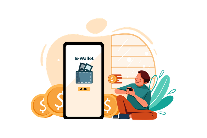 Add Money to wallet Illustration