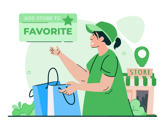 Add to favorite shop Illustration