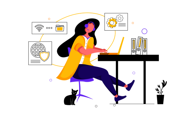 Admin lady managing online data transfer and security Illustration