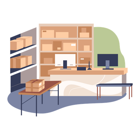 Administrative office at warehouse Illustration