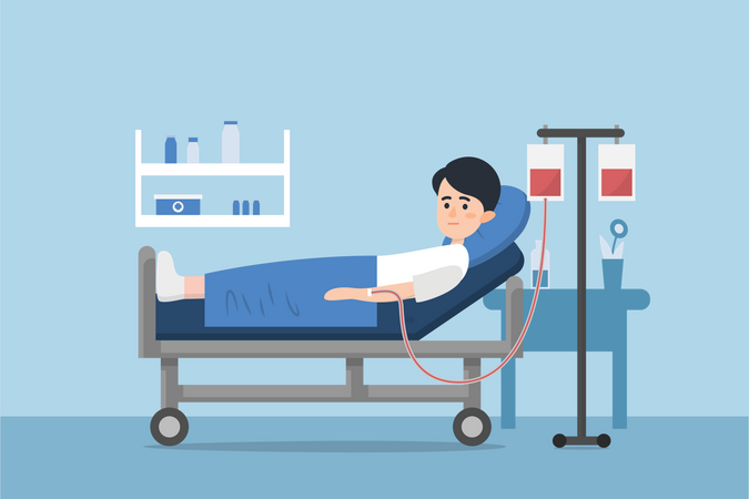 Admitted patient boy to hospital Illustration