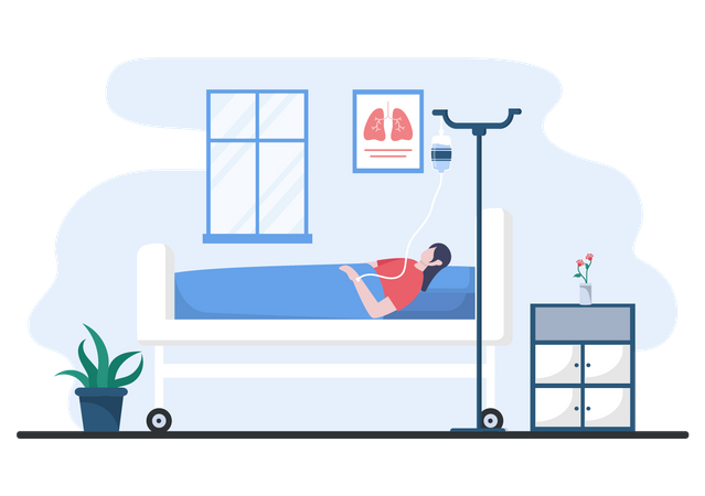 Admitted Patient in hospital Illustration