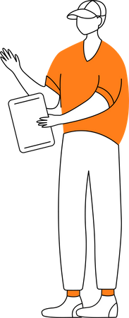 Adolescent boy with tablet Illustration