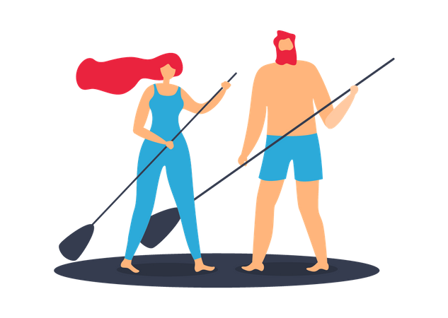 Adult Man and Woman Riding Waves on Surfboard Illustration
