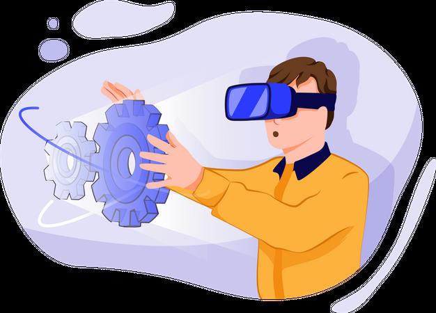 Advance managing automation via vr technologies Illustration