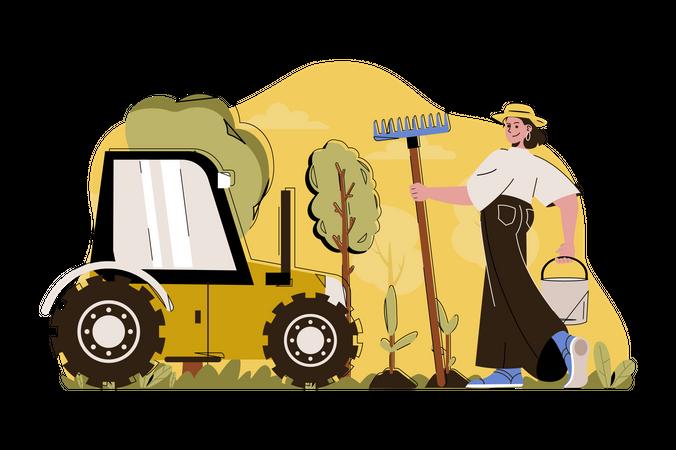 Advanced farming Illustration