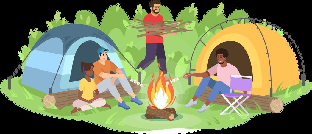 Adventure camping trip Illustration