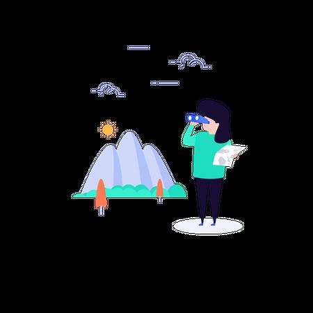 Adventurous girl finding location in mountain area using binoculars Illustration