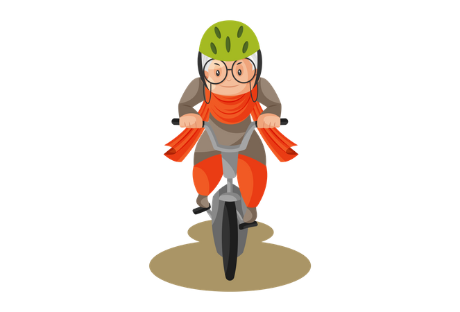 Adventurous Grandmother rides a bicycle Illustration