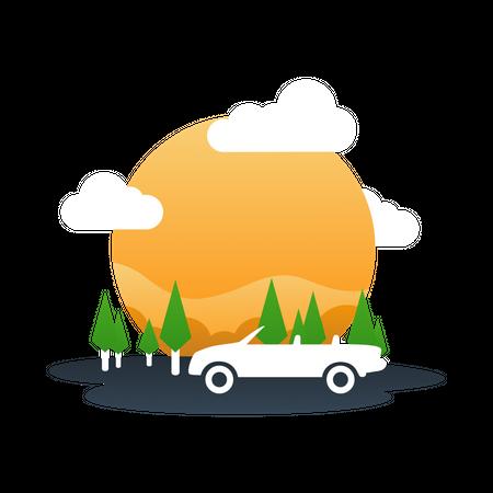Adventurous trip Illustration