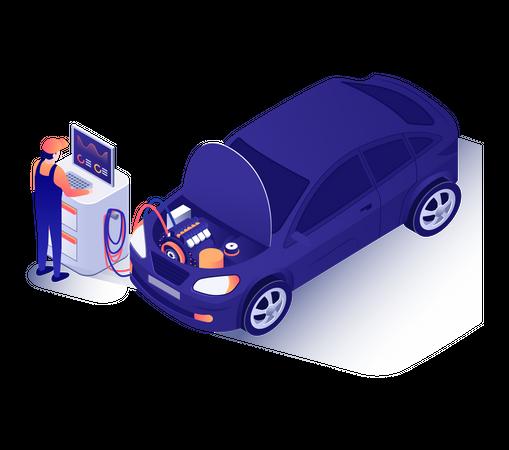 Advertisement for Full Car Repair with Diagnostics Illustration