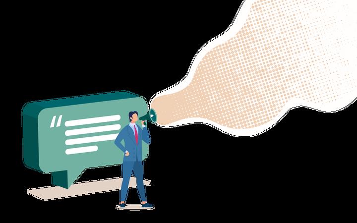 Advertisement in Social Network, Digital Marketing Campaign Illustration