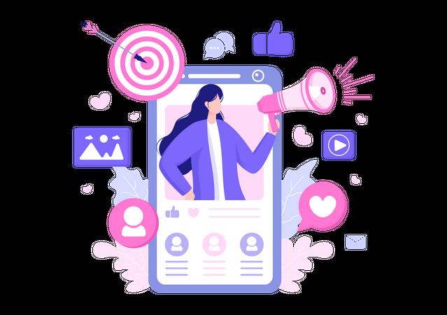 Advertisement on Social Media Illustration