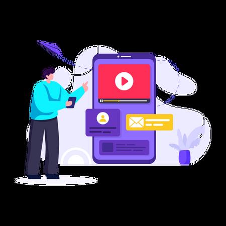 Advertising on video sharing platform Illustration