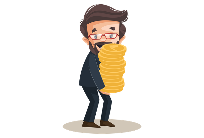 Advisor is holding gold coins in hands Illustration