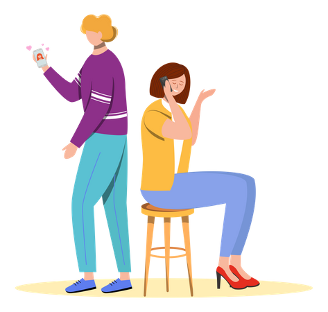 Affair by man and woman Illustration