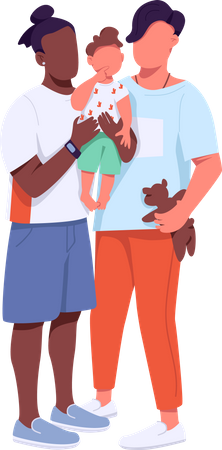 African American and Caucasian gay couple with child Illustration