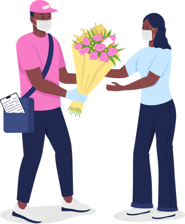 African American courier in face mask gives woman flowers Illustration