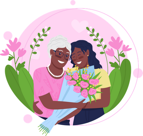 African American daughter and mother hugging Illustration