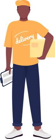 African American delivery man Illustration