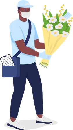 African American delivery man with flowers in face mask Illustration