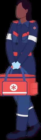 African American female paramedic Illustration