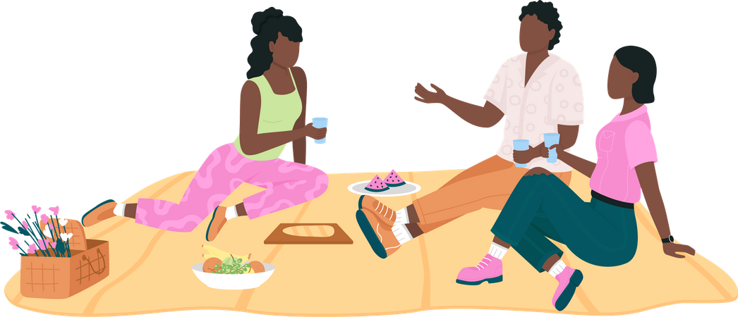 African american friend group on picnic Illustration