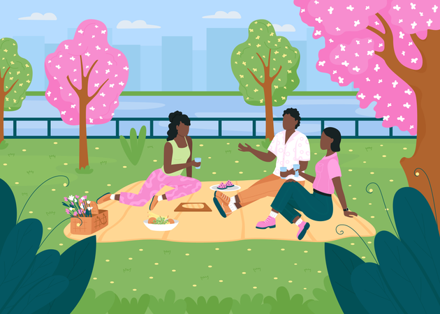 African American friend on picnic in park during spring season Illustration