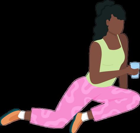 African american girl on picnic Illustration
