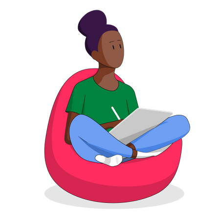 African-american Girl Working In Office Illustration