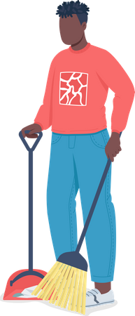 African American man cleaning floor Illustration