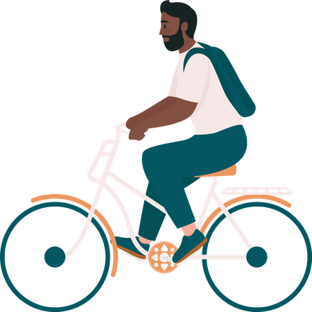 African American man in bicycle Illustration