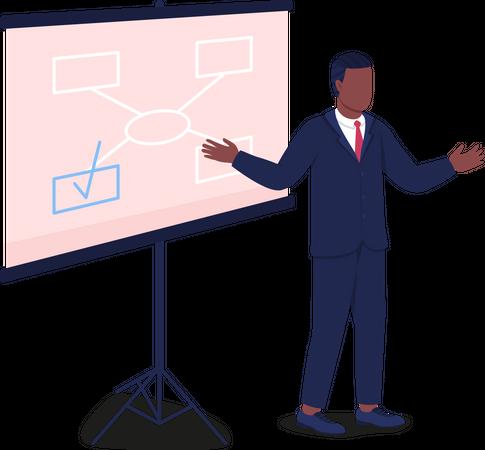 African American man instructing near projector screen Illustration