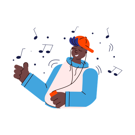 African american man listening music from cloud server Illustration