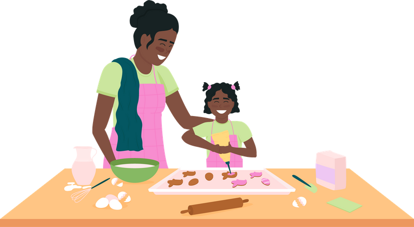 African american mother and daughter baking easter cookies Illustration