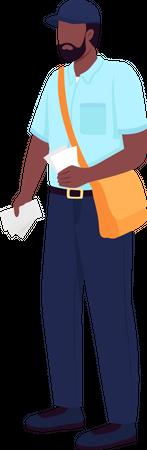 African American postman Illustration