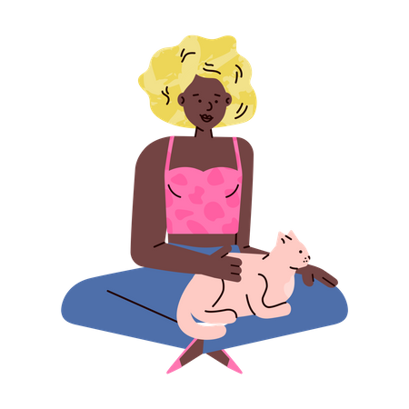 African american woman cartoon character sitting on floor and stroking a cat Illustration