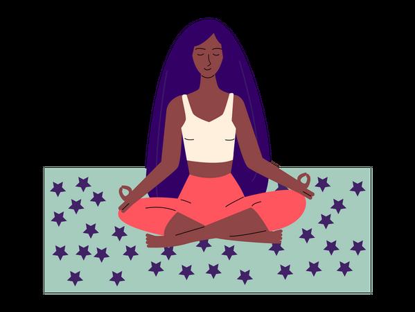 African american woman meditating in yoga lotus asana Illustration