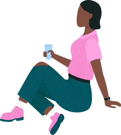 African american woman on picnic Illustration
